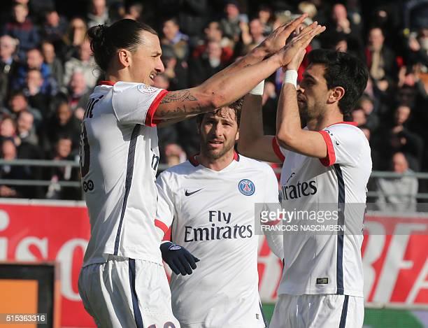 Paris SaintGermain's Swedish forward Zlatan Ibrahimovic Paris SaintGermain's Brazilian defender Maxwell and Paris SaintGermain's Argentinian...