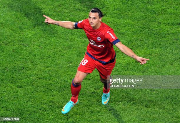 Paris SaintGermain's Swedish forward Zlatan Ibrahimovic reacts after scoring a goal during the French L1 football match Olympique of Marseille vs...