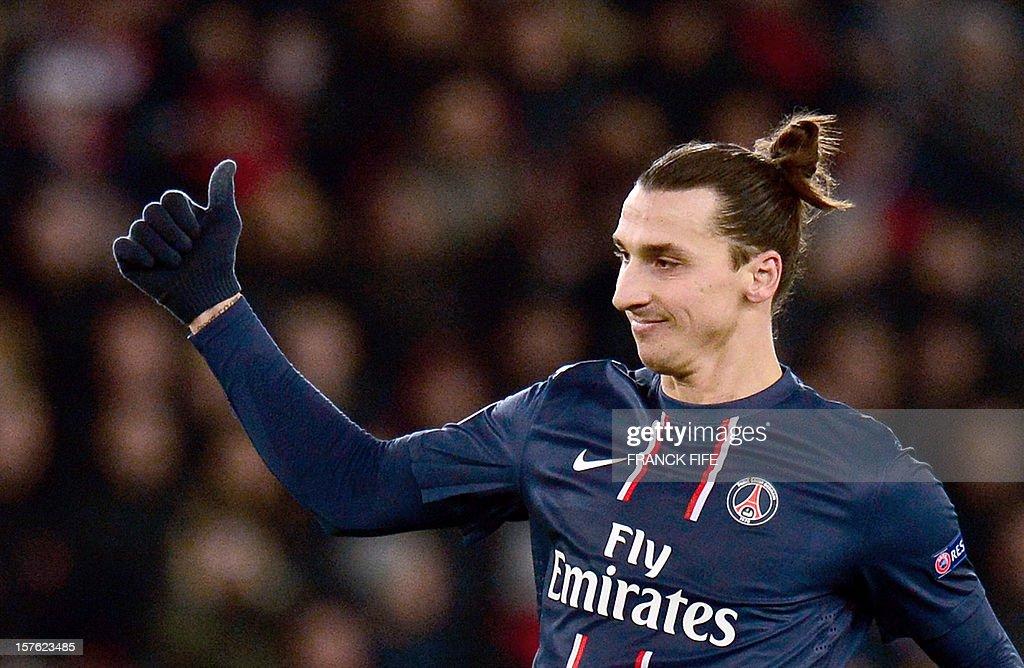 Paris Saint-Germain's Swedish forward Zlatan Ibrahimovic reacts during the UEFA Champions League Group A football match Paris Saint-Germain vs Porto on December 4, 2012 at the Parc des Princes stadium in Paris. Paris won 2-1.