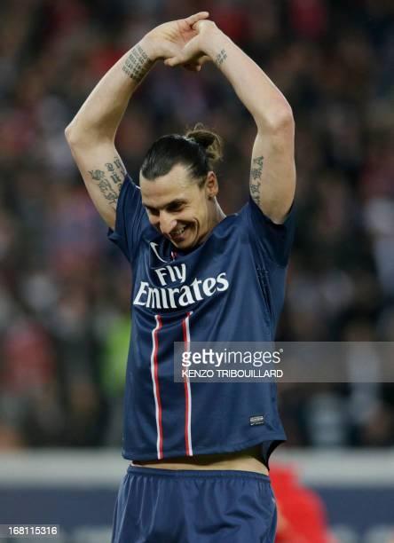 Paris Saint-Germain's Swedish forward Zlatan Ibrahimovic reacts during the French L1 football match Paris Saint-Germain vs Valenciennes at the Parc...