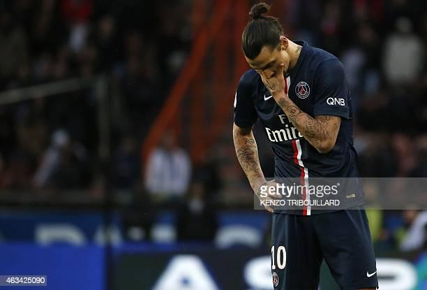 Paris Saint-Germain's Swedish forward Zlatan Ibrahimovic reacts during the French L1 football match Paris Saint-Germain vs Caen at the Parc des...