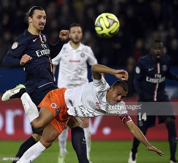 Paris SaintGermain's Swedish forward Zlatan Ibrahimovic vies with Montpellier's Brazilian defender Vitorino Hilton during the French L1 football...