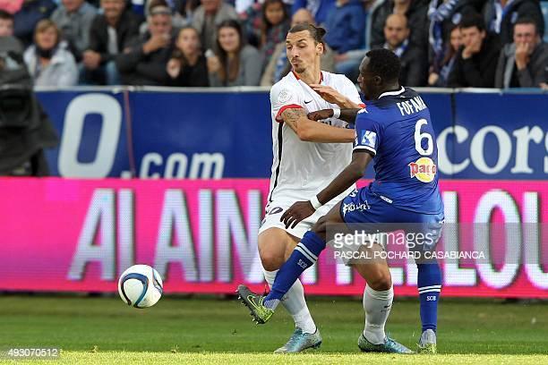 Paris SaintGermain's Swedish forward Zlatan Ibrahimovic vies with Bastia's French midfielder Seko Fofana during the L1 football match Bastia against...