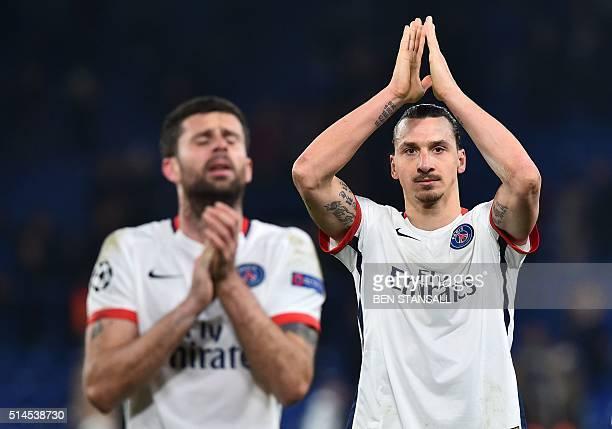 Paris SaintGermain's Swedish forward Zlatan Ibrahimovic waves to the crowd after his team won the UEFA Champions League round of 16 second leg...
