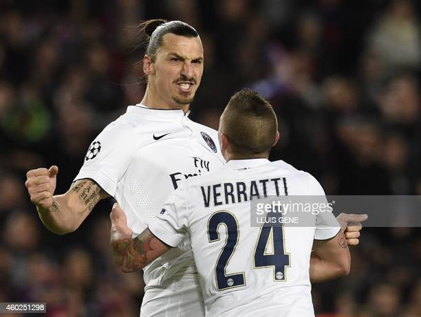 Paris SaintGermain's Swedish midfielder Zlatan Ibrahimovic celebrates after scoring during the UEFA Champions League Group F football match FC...