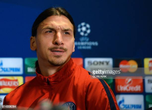 Paris SaintGermain's Swedish striker Zlatan Ibrahimovic gestures during a press conference at Stamford Bridge in London on March 8 2016 ahead of...