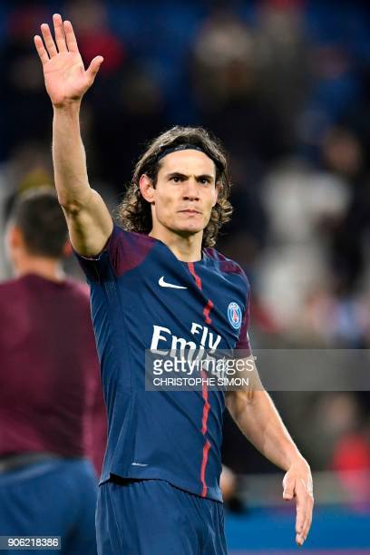 Paris SaintGermain's Uruguayan forward Edinson Cavani acknowledges applause after the French L1 football match between Paris SaintGermain and Dijon...