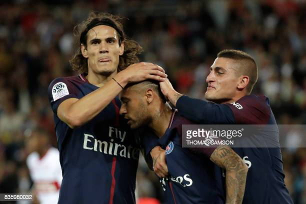 Paris SaintGermain's Uruguayan forward Edinson Cavani and Paris SaintGermain's Italian midfielder Marco Verratti congratulate Paris SaintGermain's...