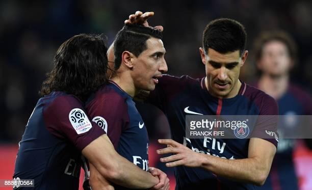 Paris SaintGermain's Uruguayan forward Edinson Cavani and Paris SaintGermain's Spanish defender Yuri Berchiche congratulate Paris SaintGermain's...