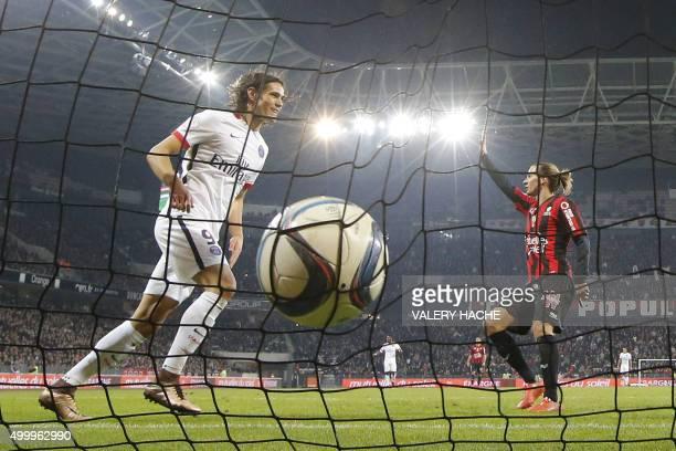 Paris SaintGermain's Uruguayan forward Edinson Cavani celebrates a goal during the French L1 football match Nice vs Paris SaintGermain on December 4...