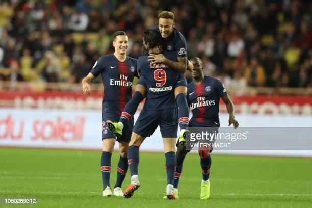 TOPSHOT Paris SaintGermain's Uruguayan forward Edinson Cavani celebrates after scoring a goal during the French L1 football match Monaco vs Paris...