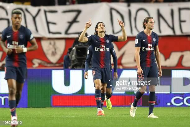 Paris SaintGermain's Uruguayan forward Edinson Cavani celebrates after scoring a goal during the French L1 football match Monaco vs Paris...