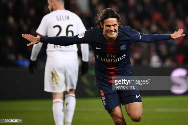 Paris SaintGermain's Uruguayan forward Edinson Cavani celebrates after scoring a goal after scoring a goal during the French L1 football match...