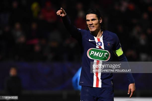 Paris SaintGermain's Uruguayan forward Edinson Cavani celebrates after scoring a goal during the French Cup football match between LinasMontlhery and...