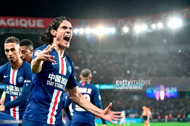 Paris Saint-Germain's Uruguayan forward Edinson Cavani celebrates after a goal during the French L1 football match between Paris Saint-Germain and...