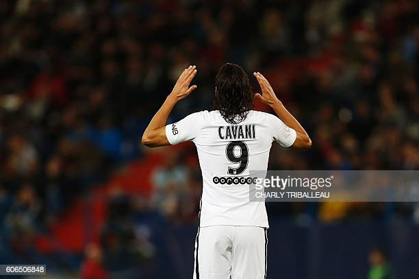 Paris SaintGermain's Uruguayan forward Edinson Cavani celebrates after scoring a goal during the French L1 football match between Caen and Paris...