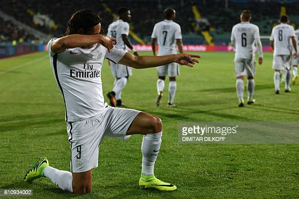 Paris SaintGermain's Uruguayan forward Edinson Cavani celebrates after scoring during the UEFA Champions League Group A football match between...