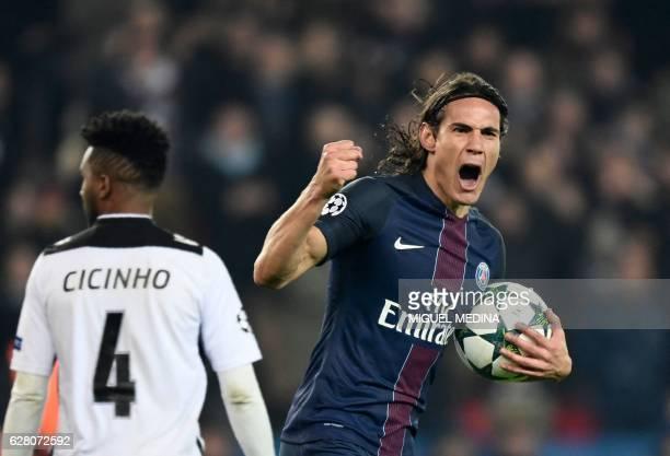 TOPSHOT Paris SaintGermain's Uruguayan forward Edinson Cavani celebrates after scoring a goal during the UEFA Champions League Group A football match...