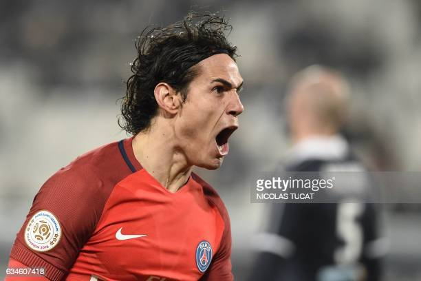 Paris SaintGermain's Uruguayan forward Edinson Cavani celebrates after scoring a goal during the French Ligue 1 football match between Bordeaux and...