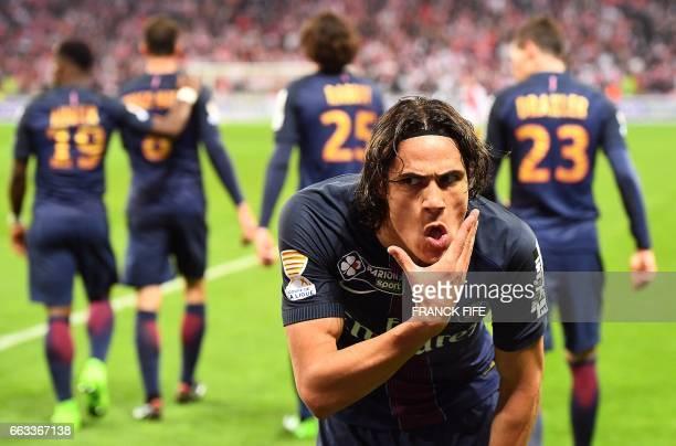 TOPSHOT Paris SaintGermain's Uruguayan forward Edinson Cavani celebrates after scoring a goal during the French League Cup final football match...