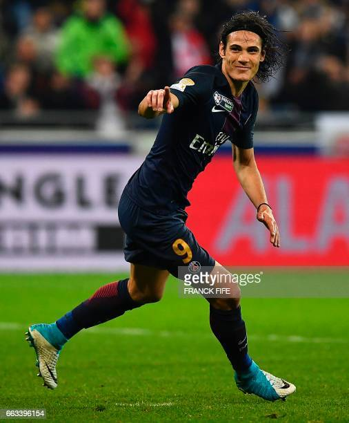 Paris SaintGermain's Uruguayan forward Edinson Cavani celebrates after scoring his second goal during the French League Cup final football match...
