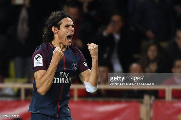 Paris SaintGermain's Uruguayan forward Edinson Cavani celebrates after scoring a goal during the French L1 football match between Monaco and Paris...