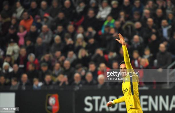 Paris SaintGermain's Uruguayan forward Edinson Cavani celebrates after scoring a goal during the French L1 football match between Rennes and Paris...