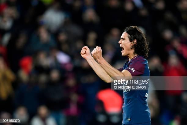 Paris SaintGermain's Uruguayan forward Edinson Cavani celebrates after scoring his team's third goal to equal the club's top scorer during the French...