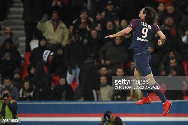 TOPSHOT Paris SaintGermain's Uruguayan forward Edinson Cavani celebrates after scoring his team's third goal to equal the club's top scorer during...