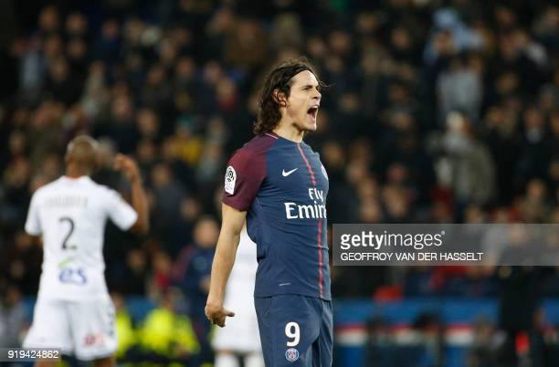 Paris SaintGermain's Uruguayan forward Edinson Cavani celebrates after scoring during the French Ligue 1 football match between Paris SaintGermain...