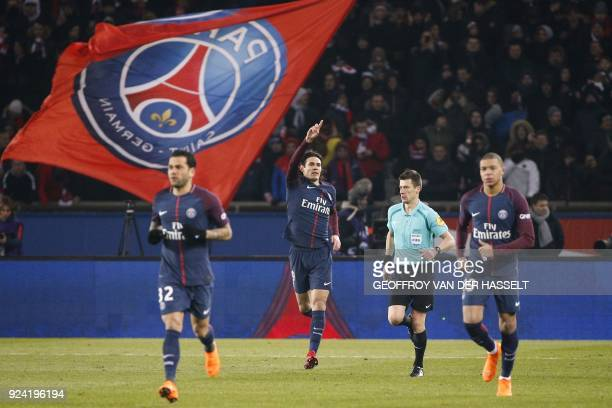 Paris Saint-Germain's Uruguayan forward Edinson Cavani celebrates after scoring a goal during the French L1 football match between Paris...