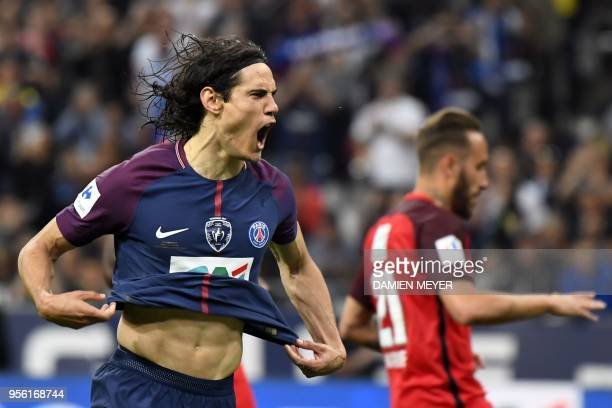 Paris SaintGermain's Uruguayan forward Edinson Cavani celebrates after scoring a goal during the French Cup final football match between Les Herbiers...
