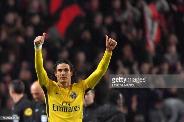 Paris SaintGermain's Uruguayan forward Edinson Cavani celebrates at the end of the French L1 football match between Rennes and Paris Saint Germain on...