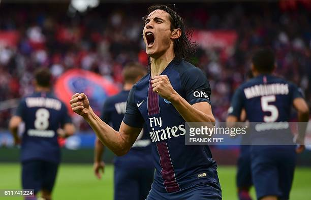 Paris SaintGermain's Uruguayan forward Edinson Cavani celebrates his goal during the French L1 football match between Paris SaintGermain and Bordeaux...