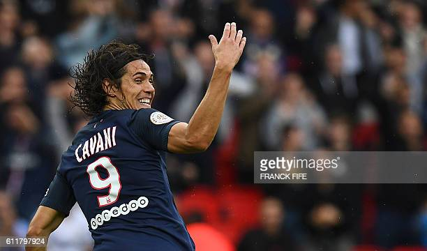 TOPSHOT Paris SaintGermain's Uruguayan forward Edinson Cavani celebrates his goal during the French L1 football match between Paris SaintGermain and...