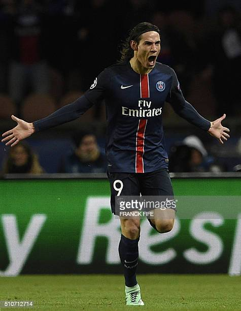 Paris SaintGermain's Uruguayan forward Edinson Cavani celebrates scoring the 21 during the Champions League round of 16 first leg football match...