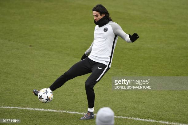 Paris SaintGermain's Uruguayan forward Edinson Cavani controls the ball during a training session at in SaintGermainenLaye on February 13 2018 on the...