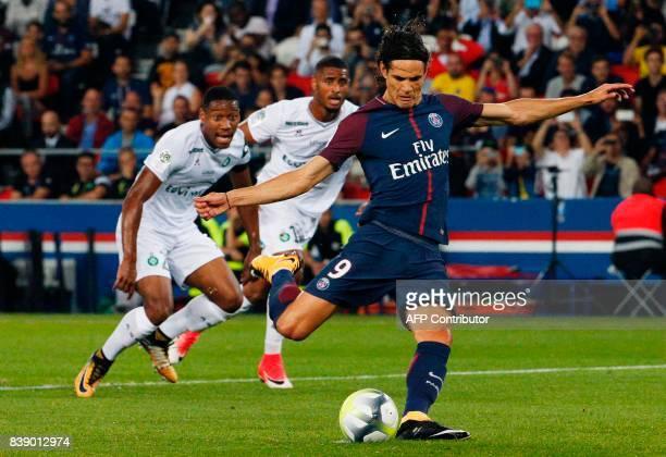 Paris SaintGermain's Uruguayan forward Edinson Cavani kicks and scores a penalty kick during the French L1 football match between Paris SaintGermain...