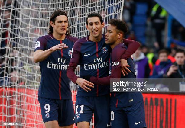 Paris SaintGermain's Uruguayan forward Edinson Cavani Paris SaintGermain's Argentinian forward Angel Di Maria and Paris SaintGermain's Brazilian...