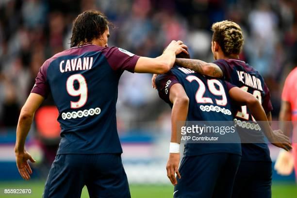 Paris SaintGermain's Uruguayan forward Edinson Cavani Paris SaintGermain's French forward Kylian Mbappe and Paris SaintGermain's Brazilian forward...