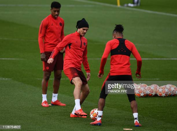 Paris SaintGermain's Uruguayan forward Edinson Cavani plays a ball during a training session at the club's Camp des Loges training grounds in...
