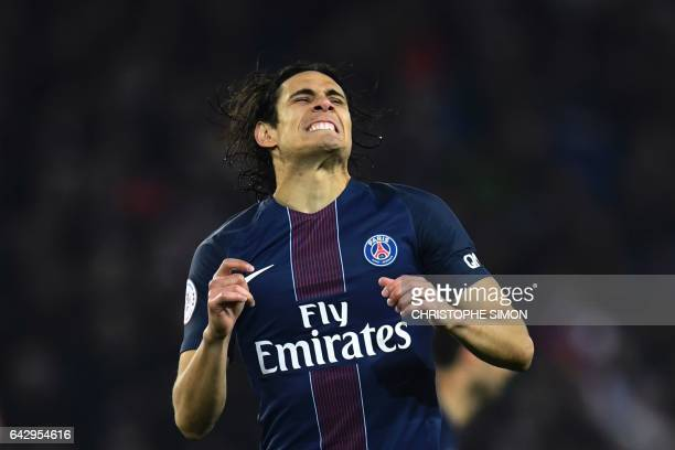 TOPSHOT Paris SaintGermain's Uruguayan forward Edinson Cavani reacts during the French L1 football match between Paris SaintGermain and Toulouse on...