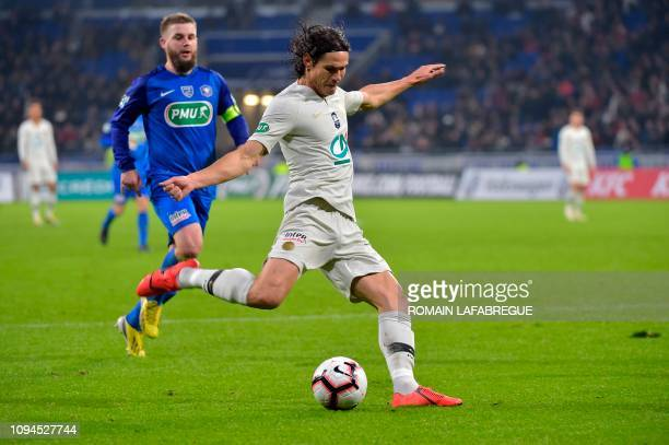 Paris Saint-Germain's Uruguayan forward Edinson Cavani shoots the ball during the French cup round of 16 football match between Villefranche and...