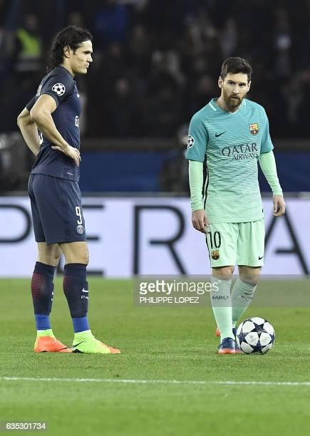 Paris SaintGermain's Uruguayan forward Edinson Cavani stands next to Barcelona's Argentinian forward Lionel Messi during the UEFA Champions League...