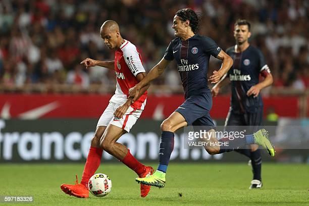 Paris SaintGermain's Uruguayan forward Edinson Cavani vies with Monaco's Brazilian defender Fabinho during the French Ligue 1 football match Monaco...