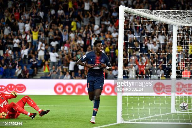 Paris SaintGermain's US forward Tim Weah celebrates after scoring a goal during the French L1 football match between Paris SaintGermain and Caen on...