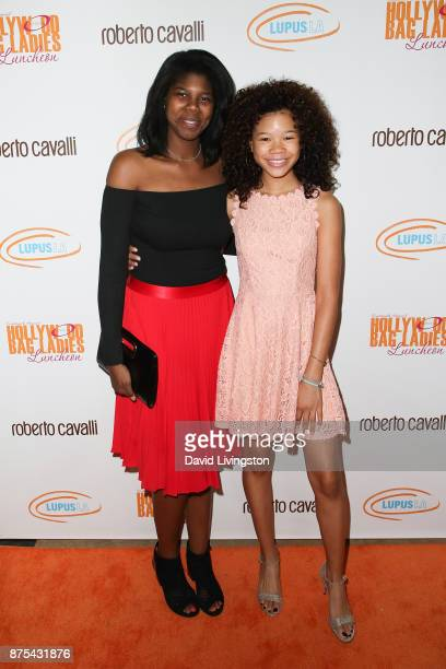 Paris Simpson and Storm Reid arrive at the Lupus LA 15th Annual Hollywood Bag Ladies Luncheon at The Beverly Hilton Hotel on November 17 2017 in...