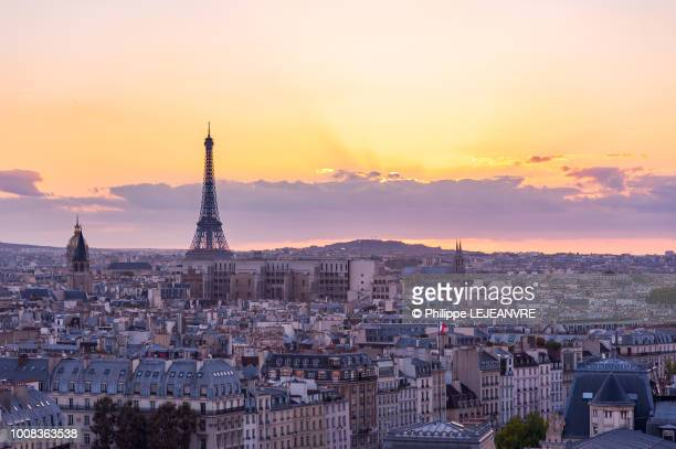 paris skyline at sunset with eiffel tower - paris france photos et images de collection