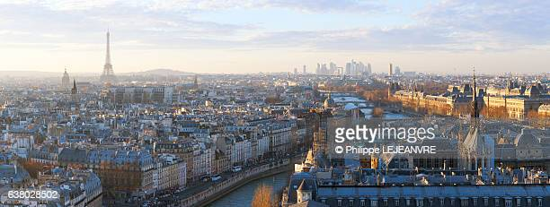 paris skyline panorama at sunset with river seine - paris skyline stock pictures, royalty-free photos & images