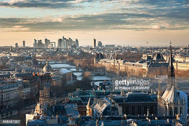 paris skyline view from notre-dame - place charles de gaulle paris stock photos and pictures